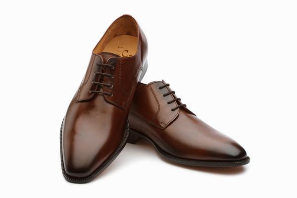 Handmade Plain Derby Shoes- Brown