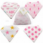 Set of 4 bandana shapped pink cloth bibs for drooling babies